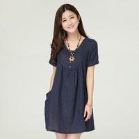 Summer women's 2014 o-neck short-sleeve pullover cotton patchwork fluid print one-piece dress princess dress
