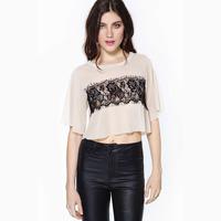 Women Blouse Shirts Laser Cutting Short Lace Chiffon Plus Size Summer Pullover Crop Tops Fashion Blusas Femininas 2014 Camisas