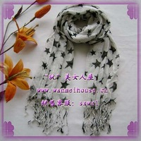 Fashion rectangle muffler scarf five-pointed star thin slub yarn scarf male Women
