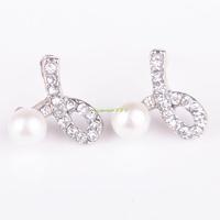 Fashion Jewelry 2014 ES0393 1 Pair Silver Rhinestone Pearl Jewelry Earring Earrings Stylish Ear Studs Stud For Women
