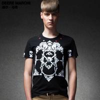 2014 summer new arrival skull print male short-sleeve T-shirt m01038