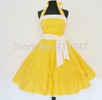 50s Vintage Dress Yellow Polka Dot Halterneck 50s Style Rockabilly Dress S-6XL