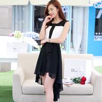 2014 summer irregular one-piece dress brief color block chiffon full dress fish tail dress chiffon