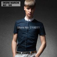 Summer 100% cotton short-sleeve shirt male short-sleeve shirt male shirt slim m02017