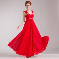 Red Bridal Dress Diamond V-neck Formal Dress Wedding  Long Design Bridesmaid Bride Toast Dress