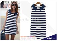 2014 New Spring and Summer women dress, Occident navy blue strips all match women dress Free shipping (Mix order 10% off)
