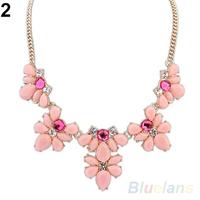 Fashion Women's Crystal Flower Chunky Statement Bib Pendant Chain Choker Necklace necklaces & pendants 041I