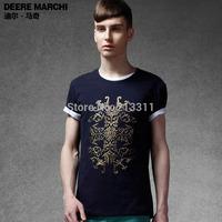 Fashion slim 2014 offset printing t-shirt male short-sleeve T-shirt m01032