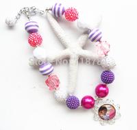 High quality kid chunky bead necklace,hot pink&purple color,Doc Mcstuffins pendant bubblegum necklace 2pcs/lot!