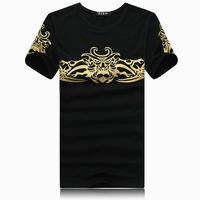 2014 new casual men  t-shirt short sleeve cotton designer mens t shirt plus size M-6XL free shipping F91
