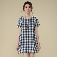 Women's hanryu full fluid short-sleeve o-neck short-sleeve dress 100% female cotton top
