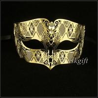 Free Shipping 48pcs/lot Halloween Gold Men Masks MD008-GD Metal Laser Cut Gold Color Halloween Party Masks