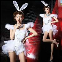 Sexy Womens Costume Club Dance Rabit Cosplay SequinsShrug Shoulder Bodysuit CZ  DS DJ XS M L Free Shipping