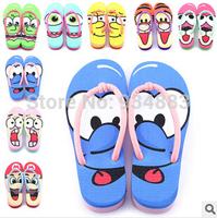 2014 New Aririval Summer Women's Slip Flops Lovely Cartoon Painting Slippers for Women Creative Face Eva Shoes Free Shipping