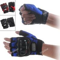 Motorcycle Bicycle Bike Half Finger Gloves Motor Racing Nylon Finger Gloves Sports Wear Racing Equipment - L-Size HUI-75718