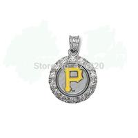 free shipping fashion 100pcs a lot  rhodium plated MLB Pittsburgh Pirates team logo with rhinestone Baseball sports Pendant