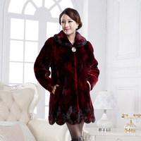 New Fashion Plus Size Fall Winter Warm Luxury Overcoats Ladies Elegant Mink Fur Outerwear Polish Jacket Women's Fur Coat A831