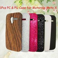 1 Pcs Hard PC + Wood Grain Pattern PU Back Case Protective Phone Case for Motorola Moto X Phone Case Free/Drop Shipping