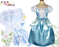New 2014 Girls Cinderella Princess Dress Kids Girl Movie cosplay costume,custom made Fairy Tail Dress fancy dress