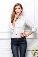 2014 Leisure sun bottoming shirts loose pocket big size long sleeve chiffon blouses free shipping