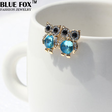 Spot free shipping new 2014 rhinestones alloy lively and lovely owl stud earrings for women ed-016