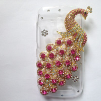 For Nokia Lumia 610 case,Bling Crystal rhinestones Colorful Peacock Cover for nokia 610 diamond case PC skin Freeshipping