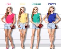 HOT sale Summer new large size women round neck short sleeve t-shirt Feifei sleeve chiffon blouse Shirts