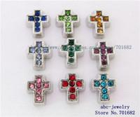 wholesales 20pcs rhinestone cross mix color FC199 floating charms for living memory locket as Mom Dad sister grandma gift