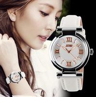 2014 New Women Dress Watches 3ATM Waterproof Genuine Leather Strap Fashion Quartz Watch Student Wristwatch 5COLORS Free ship