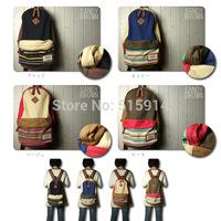 2014 new Navy hemp canvas of national wind  shoulder bag  schoolbag Free shipping/vintage backpacks