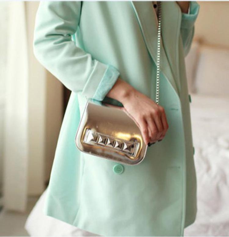 новый бренд Золото и серебро женщин сумки messenger металлические цепи креста тело мини-женщин пу сцепления светская женщин кожаная сумочка