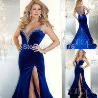 Deep V Neck Mermaid Royal Blue Velvet Dresses Sheer Neckline High SLit Sexy Fashion 2014 Dress With Stones