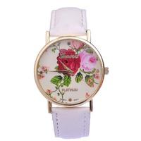 JW588 GENEVA Platinum Rose Flower Watch Ladies and Girls Floral Watches Women Quartz Wristwatch relogio White Leather