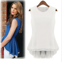 2014 summer  women causl blouse chiffon shirt  with ruffles  sleeveless  plus size white black  Free Shipping  0.1