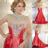Elegant Cape Sleeves Open Back Sliver Mermaid Taffeta Evening Gown High Neck Dresses 2014 Dress With Stones