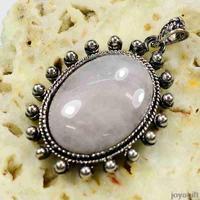 hot sales new natural Rose Quartz Semi-precious stone Ellipse Cabochon on zinc Alloy women necklace Pendant Free shipping