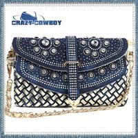 2014 new arrivals full crystal rhinestone denim hadbags designers brand  for women light / dark blue bags ladies clutch bag