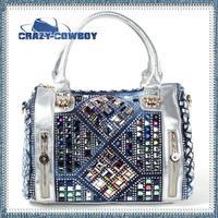 2014 summer new cowboy colorful diamond crystal personalized denim message bags for women ladies desigual vintage handbag