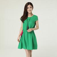 Summer women's 2014 short-sleeve o-neck  cotton dress