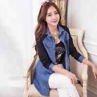 Real pictures model European style 2014 denim shirt female long-sleeve slim medium-long chiffon patchwork denim pocket blouses