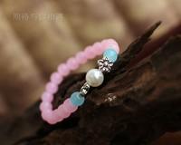 New hot Classic double flowers rose quartz stone beaded bracelet personalized jewelry small fresh ladies wind Girlfriend Gift