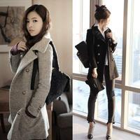 NEW 2014 winter Women plus size long woolen coat lady wool double-breasted coat lady jacket coat S,M,L,XL,XXL 9612