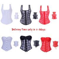 New arrival ,White/Black/Redlace wedding corset boned lace up strap Corset Bustier corselet underwear bodyshaper Size S-2XL