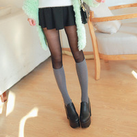 10 D Fashion Patchwork Women Sexy Butterfly Crotch Pantyhose Show Thin Transparent Tights Free Shipping