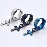 12.4mm Cross titanium steel Punk Men earrings 5 colors for choose Cirle Simple ear buckle wholesale free shipping