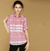 2014 New Women summer spring Fashion Brand Blouses Womens short  puff Sleeve Plaid Burb loose Shirts  england style pink