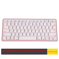 Free shipping Super slim white-orange rechargeable Bluetooth Wireless Keyboard US Layout for IOS Android Windows