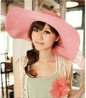 2014 Korean bowknot is big eaves beach hat straw hat summer sun hats for women,LSM508