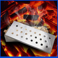 Stainless Steel Sootiness Box Camping Charcoal Grill Picnic BBQ Grill For Barbecue BBQ Grill Smoked Box  24*10*4.5CM