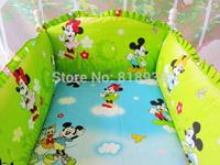 Baby bedding sets bumper,100% cotton cartoon crib baby bumper, 4 bumper + sheet, custom baby care bedding set,baby products